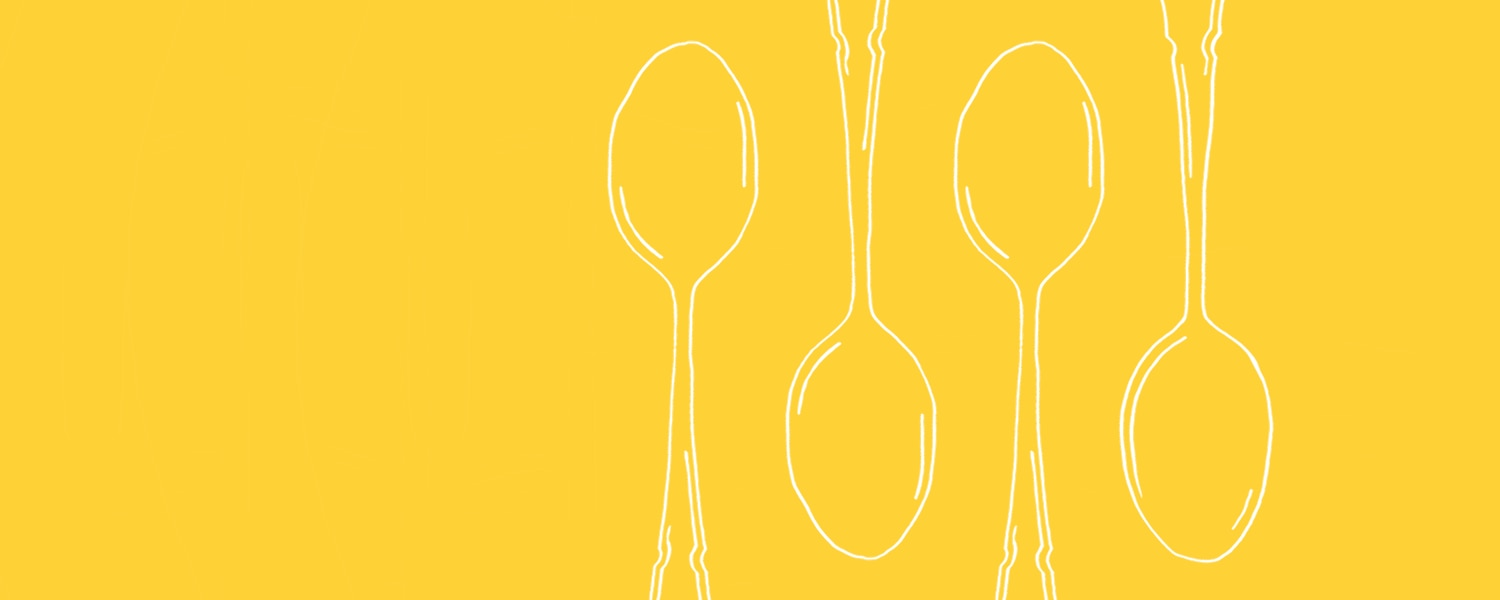 White illustration of four spoons on a yellow background - Libresse