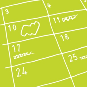 Close up illustration of a calendar with dates - Libresse