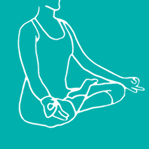 Illustration of a woman doing yoga on a turquoise background - Libresse