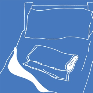 Illustration of a towel placed on a bed on a blue background - Libresse