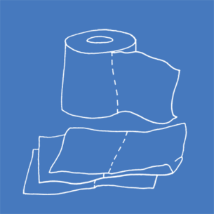 Illustration of toilet paper on a blue background - Libresse
