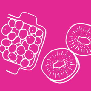 Illustration of healthy food on a pink background - Libresse