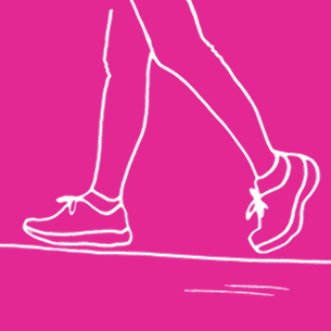Illustration of a woman exercising on a pink background - Libresse