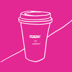 Illustration of a cup of coffee on a pink background - Libresse