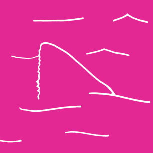 Illustration of a shark fin on a pink background - Libresse