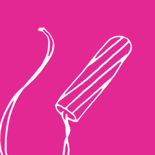 Illustration of a tampon on a pink background - Libresse