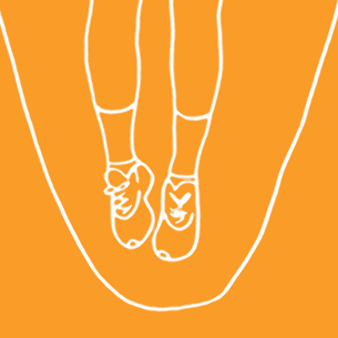 Illustration of a woman skipping on an orange background - Libresse