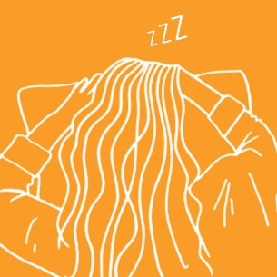 Illustration of a woman sleeping on an orange background - Libresse