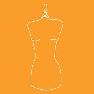 Illustration of a mannequin on an orange background - Libresse