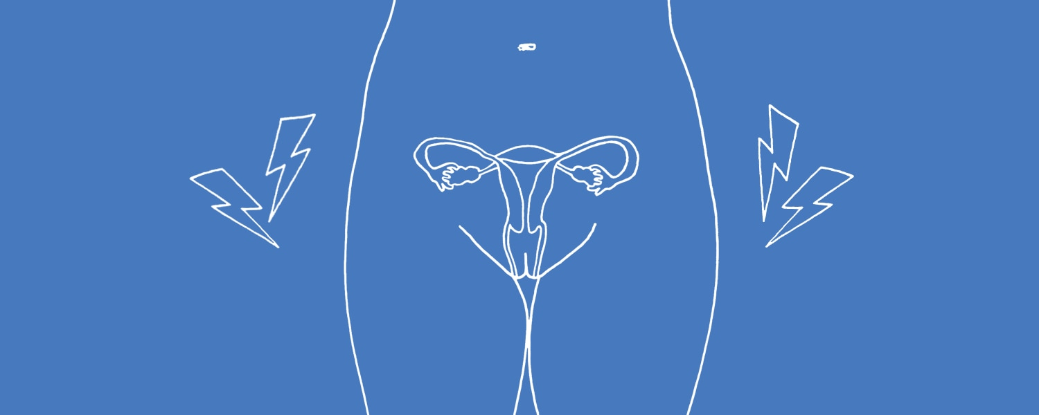 White illustration of endometriosis on a blue background - Libresse