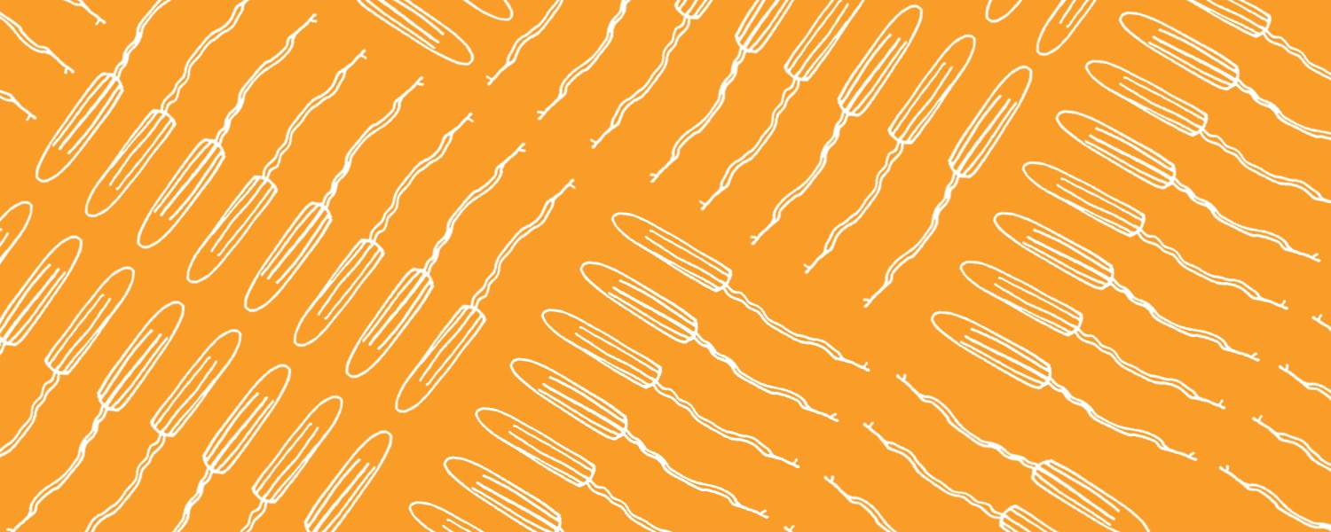 White illustration of tampons with an orange background - Libresse