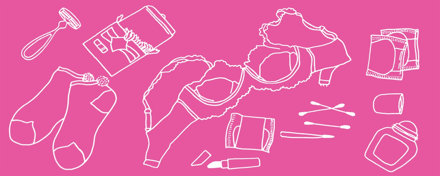White illustration of beauty products and underwear on a pink background - Libresse