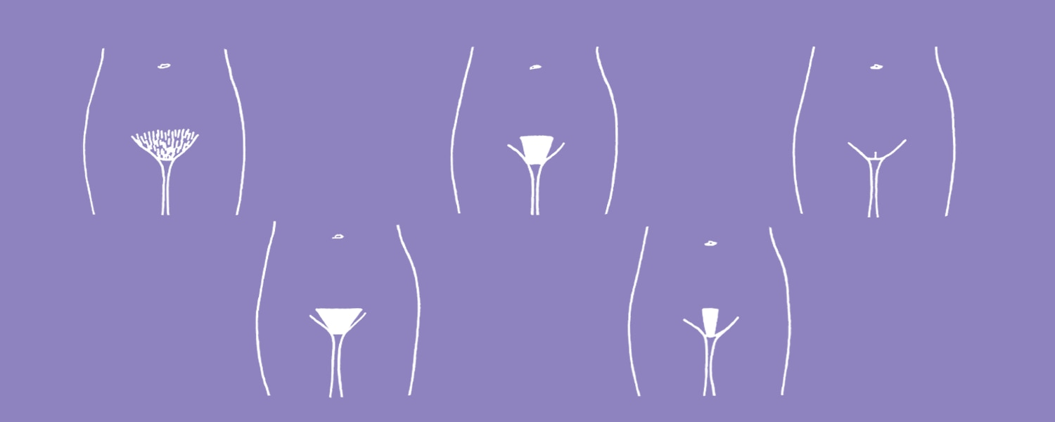 White illustration of five different bikini lines on a purple background - Libresse
