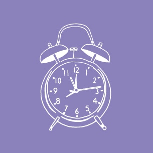 Illustration of an alarm clock on a purple background - Libresse