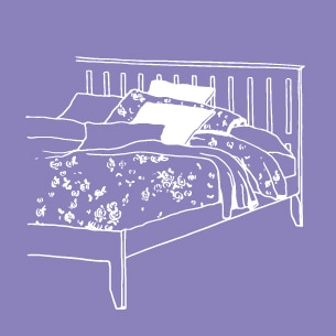 Illustration of a bed on a purple background - Libresse