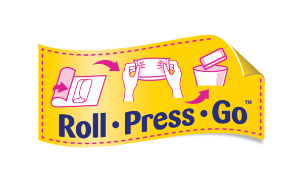 Image to explain the steps to take for Roll.Press.Go - Libresse