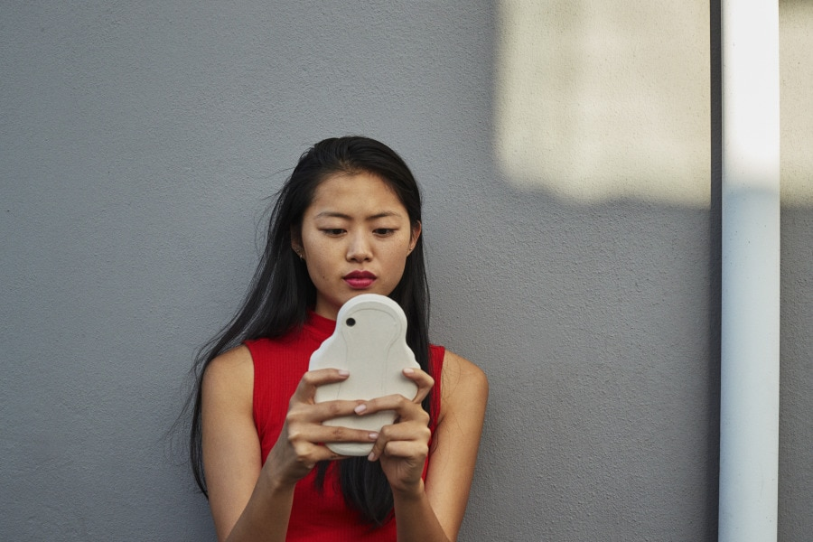 Girl with pad shaped phone case