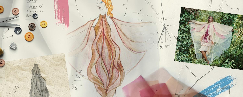 Sketches of a vulva-inspired dress design