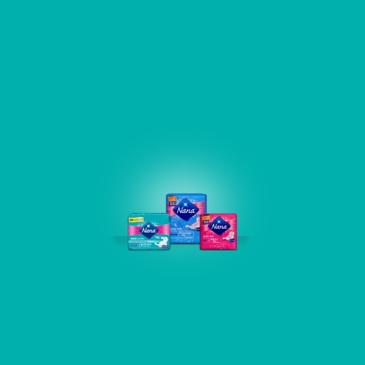 Three period care products on a turquoise background - Libresse