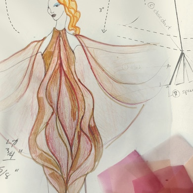 Sketches of a vulva-inspired dress design