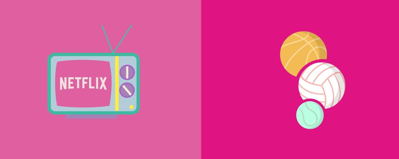 ilustración de un televisor y balones deportivos con fondo rosa - Saba