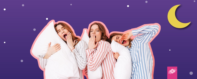 Imagen de tres chicas listas para dormir sobre un fondo de estrellas - Saba