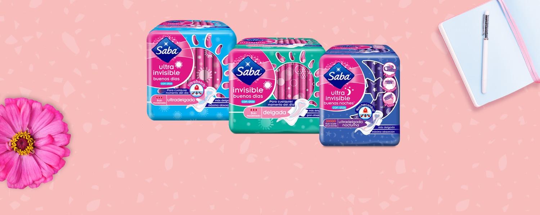 tres packs de toallas invisibles y ultrainvisibles sobre un fondo color rosa - Saba