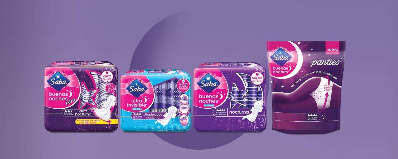 Imagen de los packs de los 4 productos Saba® Buenas Noches sobre un fondo morado