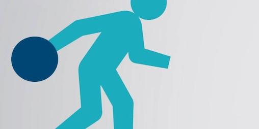 Stylized man bowling